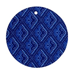 Blue Fractal Background Round Ornament (Two Sides)
