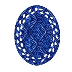 Blue Fractal Background Ornament (Oval Filigree)
