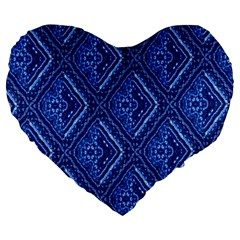 Blue Fractal Background Large 19  Premium Heart Shape Cushions
