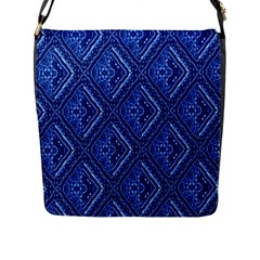 Blue Fractal Background Flap Messenger Bag (L)