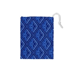 Blue Fractal Background Drawstring Pouches (Small)
