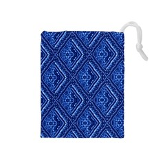 Blue Fractal Background Drawstring Pouches (Medium)