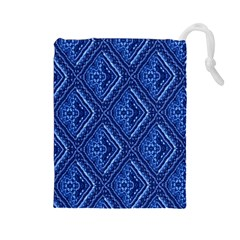 Blue Fractal Background Drawstring Pouches (Large)