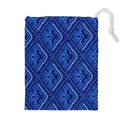 Blue Fractal Background Drawstring Pouches (extra Large)