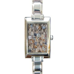 Multi Color Stones Wall Texture Rectangle Italian Charm Watch