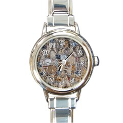 Multi Color Stones Wall Texture Round Italian Charm Watch