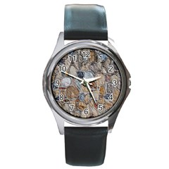 Multi Color Stones Wall Texture Round Metal Watch