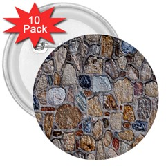 Multi Color Stones Wall Texture 3  Buttons (10 Pack)