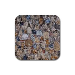 Multi Color Stones Wall Texture Rubber Coaster (Square)