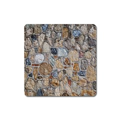 Multi Color Stones Wall Texture Square Magnet