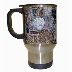 Multi Color Stones Wall Texture Travel Mugs (White)
