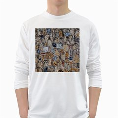 Multi Color Stones Wall Texture White Long Sleeve T-Shirts