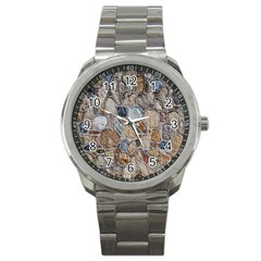 Multi Color Stones Wall Texture Sport Metal Watch