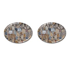 Multi Color Stones Wall Texture Cufflinks (Oval)