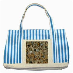 Multi Color Stones Wall Texture Striped Blue Tote Bag
