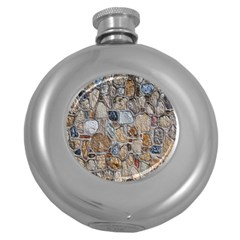 Multi Color Stones Wall Texture Round Hip Flask (5 oz)