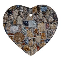 Multi Color Stones Wall Texture Heart Ornament (Two Sides)