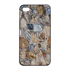 Multi Color Stones Wall Texture Apple Iphone 4/4s Seamless Case (black)