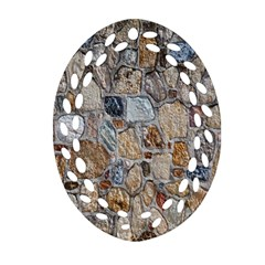 Multi Color Stones Wall Texture Oval Filigree Ornament (Two Sides)