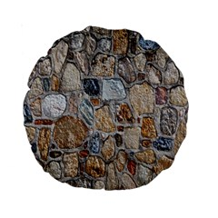 Multi Color Stones Wall Texture Standard 15  Premium Round Cushions