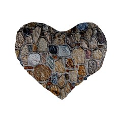 Multi Color Stones Wall Texture Standard 16  Premium Heart Shape Cushions