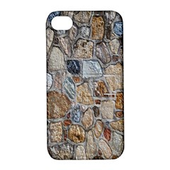 Multi Color Stones Wall Texture Apple iPhone 4/4S Hardshell Case with Stand