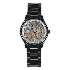 Multi Color Stones Wall Texture Stainless Steel Round Watch