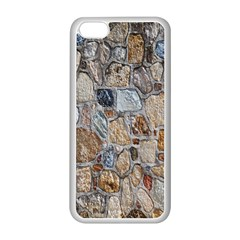 Multi Color Stones Wall Texture Apple iPhone 5C Seamless Case (White)