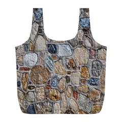 Multi Color Stones Wall Texture Full Print Recycle Bags (L)