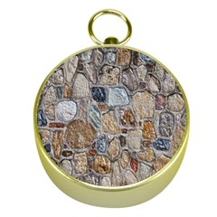 Multi Color Stones Wall Texture Gold Compasses
