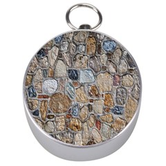 Multi Color Stones Wall Texture Silver Compasses