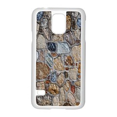 Multi Color Stones Wall Texture Samsung Galaxy S5 Case (White)