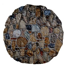 Multi Color Stones Wall Texture Large 18  Premium Flano Round Cushions