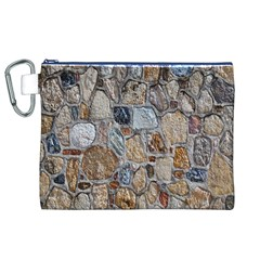 Multi Color Stones Wall Texture Canvas Cosmetic Bag (XL)