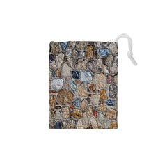 Multi Color Stones Wall Texture Drawstring Pouches (XS)