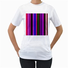 Fun Striped Background Design Pattern Women s T-Shirt (White) (Two Sided)