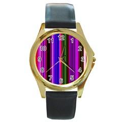 Fun Striped Background Design Pattern Round Gold Metal Watch