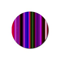 Fun Striped Background Design Pattern Rubber Coaster (Round)
