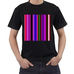 Fun Striped Background Design Pattern Men s T-Shirt (Black) (Two Sided)