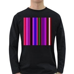 Fun Striped Background Design Pattern Long Sleeve Dark T Shirts