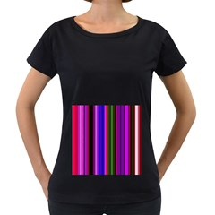 Fun Striped Background Design Pattern Women s Loose-Fit T-Shirt (Black)