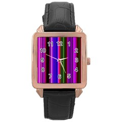 Fun Striped Background Design Pattern Rose Gold Leather Watch