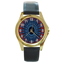 Digital Circle Ornament Computer Graphic Round Gold Metal Watch