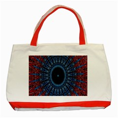 Digital Circle Ornament Computer Graphic Classic Tote Bag (Red)