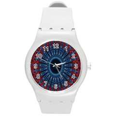 Digital Circle Ornament Computer Graphic Round Plastic Sport Watch (M)