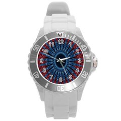 Digital Circle Ornament Computer Graphic Round Plastic Sport Watch (L)