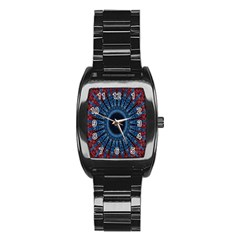 Digital Circle Ornament Computer Graphic Stainless Steel Barrel Watch