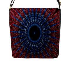 Digital Circle Ornament Computer Graphic Flap Messenger Bag (L)