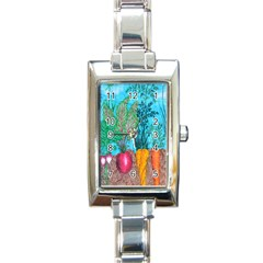 Mural Displaying Array Of Garden Vegetables Rectangle Italian Charm Watch