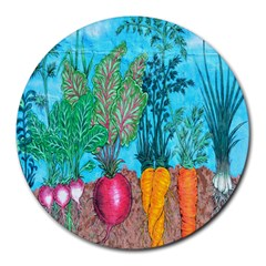 Mural Displaying Array Of Garden Vegetables Round Mousepads
